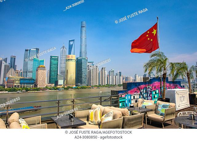 China, Shanghai City, Pudong District, Lujiazui Area, Huangpu river, Jin Mao Bldg. ,World Financial Center and Shanghai Tower
