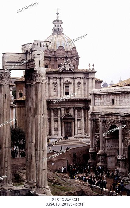 Church of Santi Luca e Martina and Arch of Septimus Severus on right, Temple of Vespasian to left