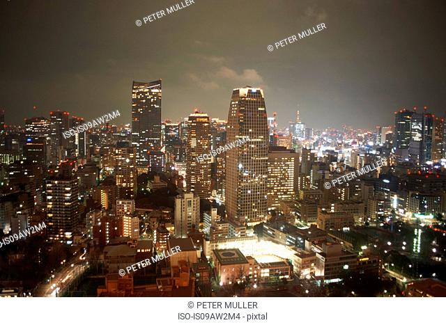 Cityscape view with skyscrapers at night, Tokyo, Japan