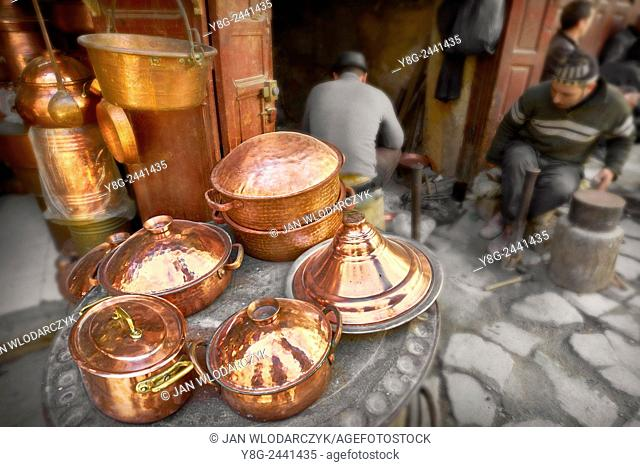 Fez, Medina. Metalworkers workshops in the Place el Seffarine. Morocco