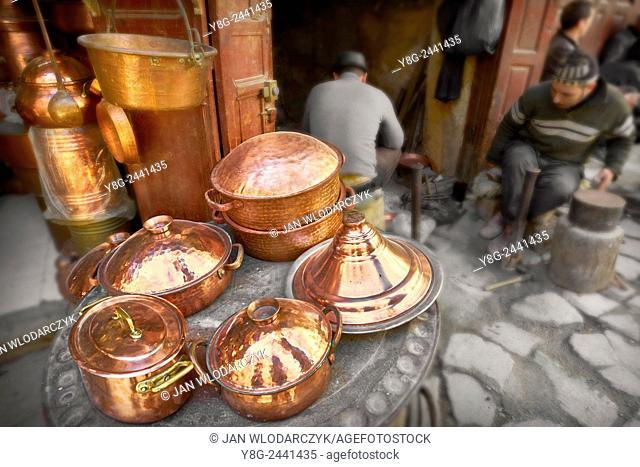 Fez, Medina. Metalworkers workshops in the Place el Seffarine. Morocco