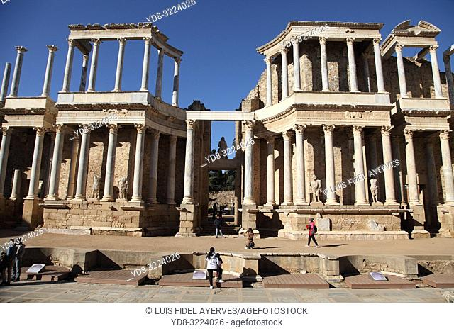 The Roman Theatre of Mérida is a construction promoted by the consul Vipsanius Agrippa in the Roman city of Emerita Augusta. Mérida. Badajoz Province