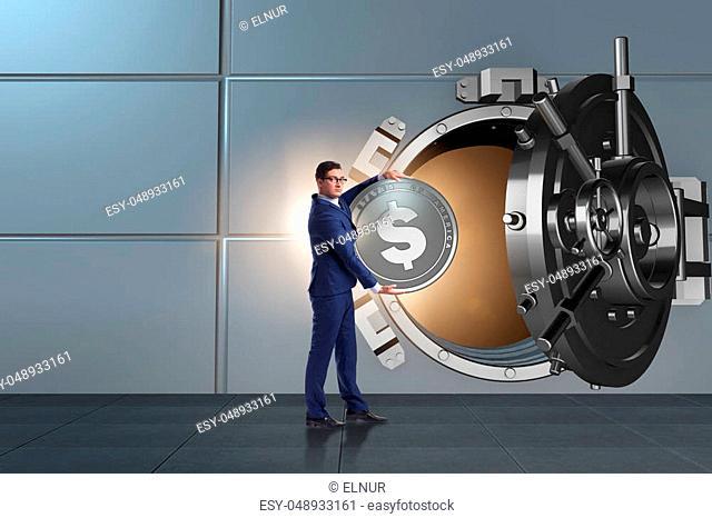 Businessman depositing american dollar to bank