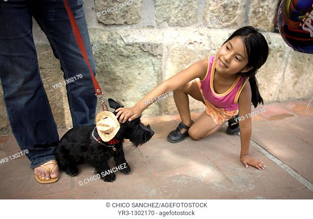 A girl plays with a dog who wears a hat during the Blessing of the Animals celebration in Oaxaca, Mexico, August 31, 2008  La Merced Catholic church celebrates...