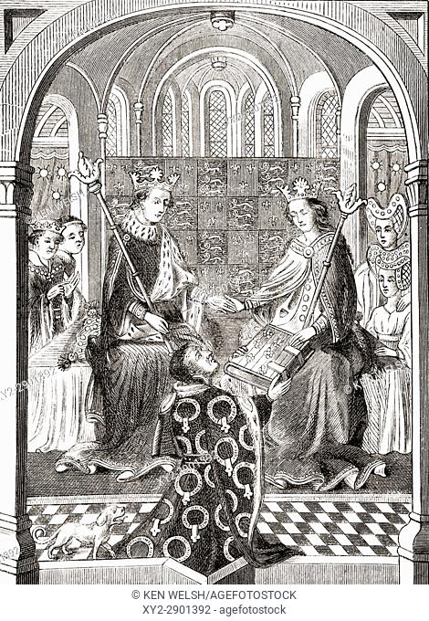 King Henry VI of England and his Queen Consort Margaret of Anjou in their court. From The National and Domestic History of England by William Aubrey published...