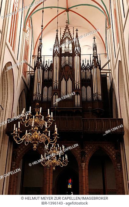 Old organ, built by Frederick Ladegast in 1871, at the Schweriner Dom St. Maria und St. Johannes cathedral, 1270 - 1422, brick Gothic, Am Dom, Schwerin