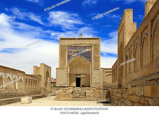 Bukhara, Uzbekistan - August 28, 2016: Chor Bakr Necropolis, ancient small settlement of devishes and graves of Juibar Sheikhs