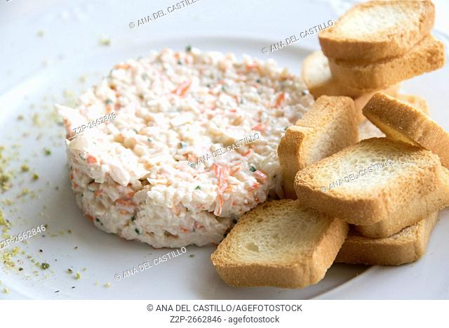 Russian salad with toast bread