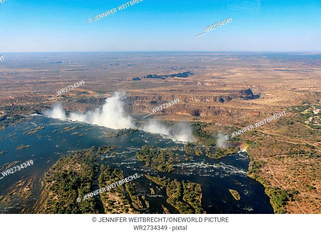 Zambia, Victoria Falls, Sambesi river, aerial view, helicopter flight, at the transition to the Victoria Falls from above