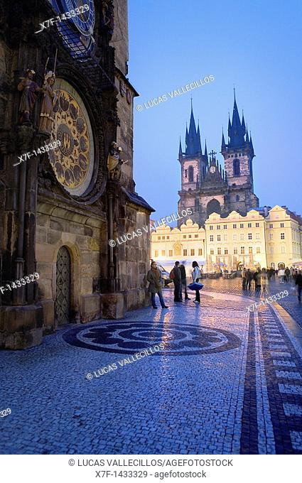Astronomical Clock in Old Town Councilhouse and the Tyn church The Old town square Prague  Czech Republic