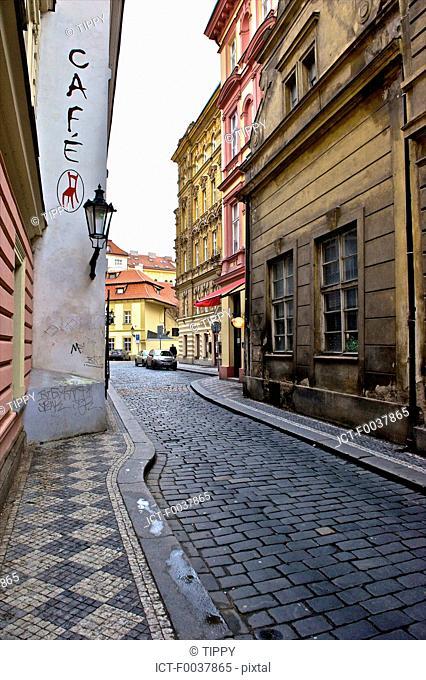 Czech Republic, Prague, old town, paved stone street