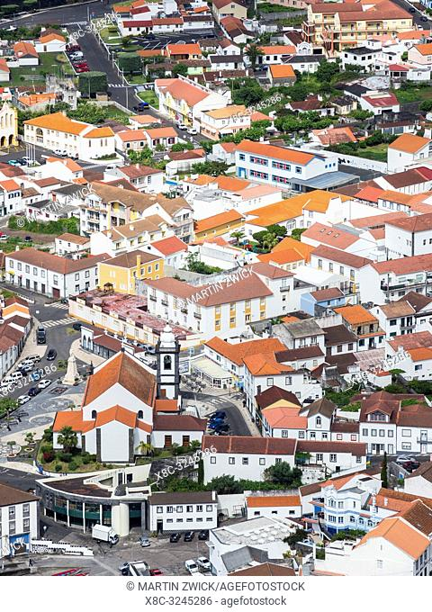 Velas, the main town on the island. Sao Jorge Island, an island in the Azores (Ilhas dos Acores) in the Atlantic ocean. The Azores are an autonomous region of...