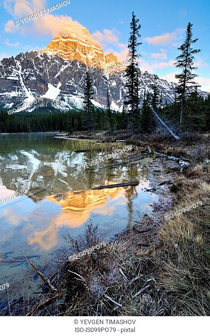Lower Waterfowl Lake and Mount Chephren, Banff National Park, Alberta, Canada