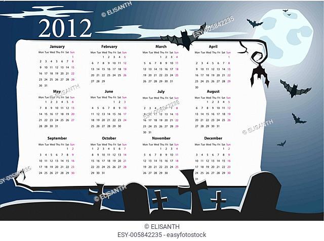 Vector Halloween calendar 2012 with cemetery