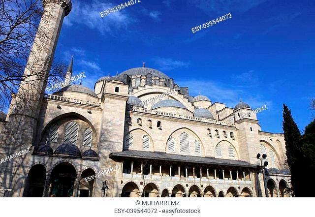 Exterior view of Suleymaniye Mosque in Istanbul, Turkey