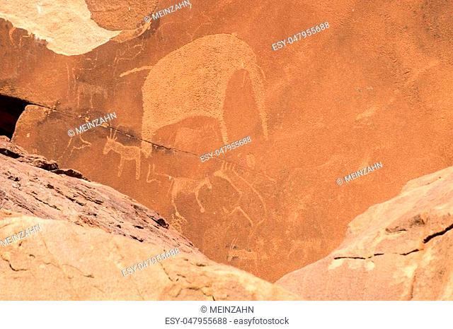 Bushman engravings in the granite rock, Twyfelfontein UNESCO World Heritage Site, Kunene Region, Damaraland, Namibia, Africa