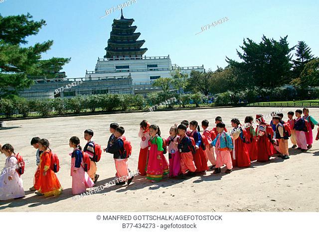 Gyeongbokgung Palace Grounds, school children at the National Folk Museum. Seoul, Republic of Korea. 2004