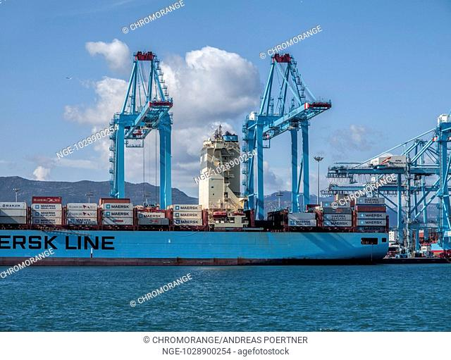container ship and cranes in the port of Algeciras, Andalusia, Spain, Europe