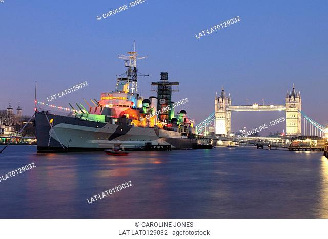 The HMS Belfast is a former serving Royal Navy ship moored near the Tower of London. It is part of the Imperial War Museum