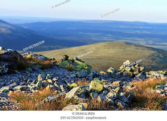 Summer Scandinavian mountains and beautiful stones