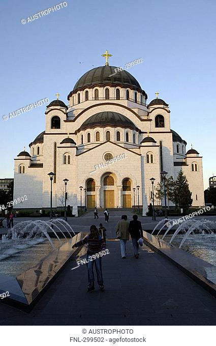 Facade of cathedral, The Cathedral of Saint Sava, Belgrade, Serbia