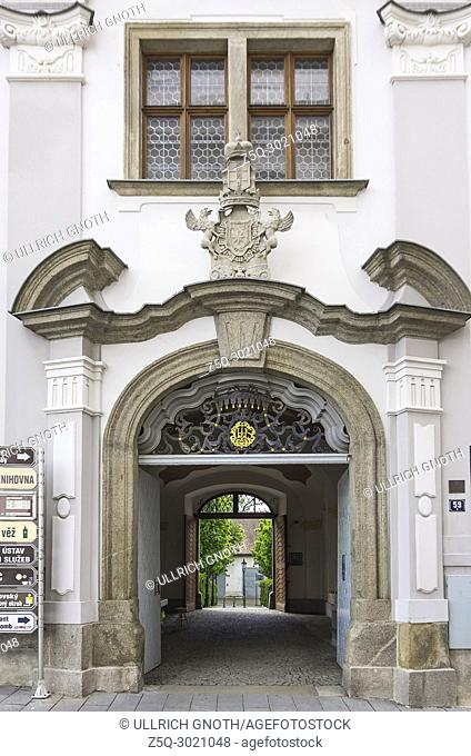 Klatovy, Czech Republic - portal and gateway of the historical architecture of today's city library