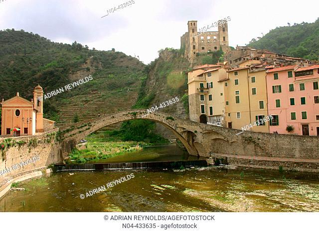 Old bridge in Dolceacqua. Liguria, Italy