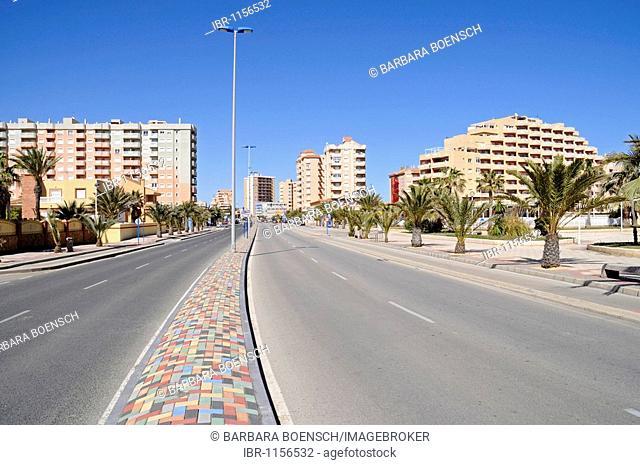 High-rise buildings, street, La Manga, Mar Menor, Murcia, Spain, Europe