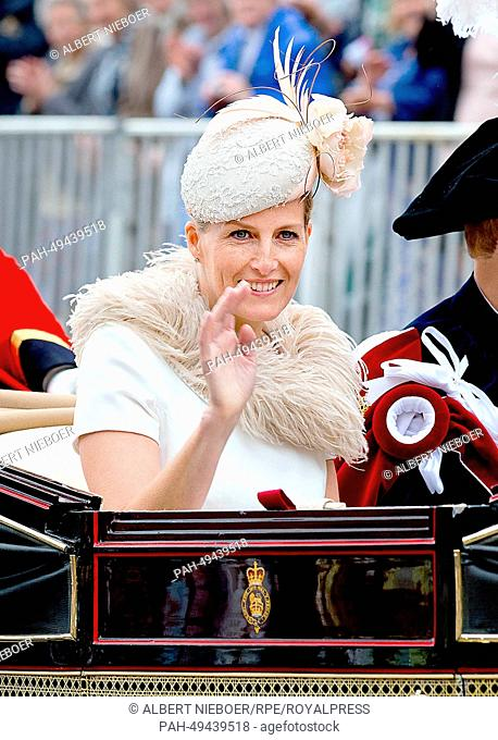 Sophie, Countess of Wessex, sits in a carriage after the Order Of The Garter Service on June 16, 2014 in Windsor, United Kingdom