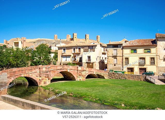 Overview and medieval bridge over river Gallo. Molina de Aragon, Guadalajara province, Castilla La Mancha, Spain