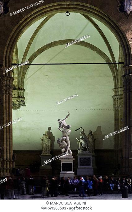piazza della signoria, ,the rape of the sabine women, florence, tuscany, italy