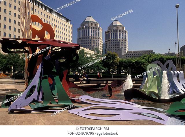Cincinnati, OH, Ohio, Sculpture and fountain in city park in downtown Cincinnati