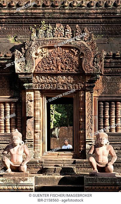 Statues of the Hanuman deity as temple guardians, Banteay Srei temple, Citadel of the Women, Angkor, Cambodia, Southeast Asia