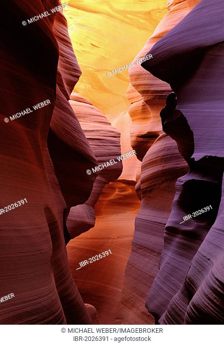 Red sandstone of the Moenkopi formation, rock formations, colours and textures in the Lower Antelope Slot Canyon, Corkscrew Canyon, Page