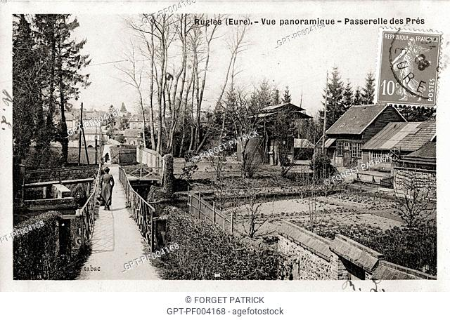 GARDEN ALLOTMENTS AND FOOTBRIDGE OF THE PETITS PRES, OLD POSTCARD, COLLECTION OF THE CITY OF RUGLES, EURE (27), FRANCE