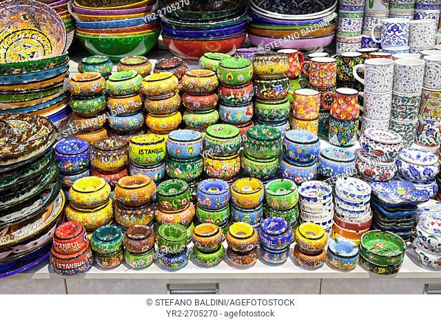 Shop display of painted ceramics inside the Grand Bazaar, Istanbul, Turkey