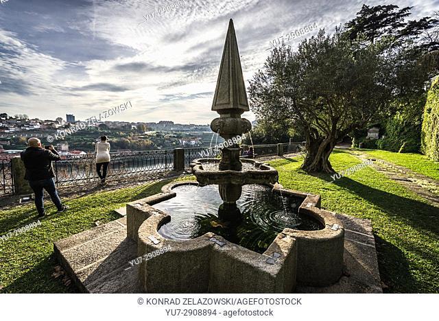 Fountain in Crystal Palace Gardens (Jardins do Palacio de Cristal) in Massarelos civil parish of Porto city in Portugal
