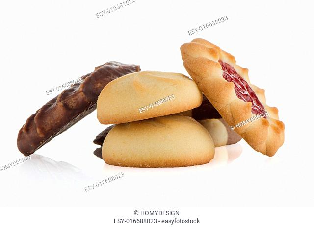 Strawberry biscuit on white reflective background