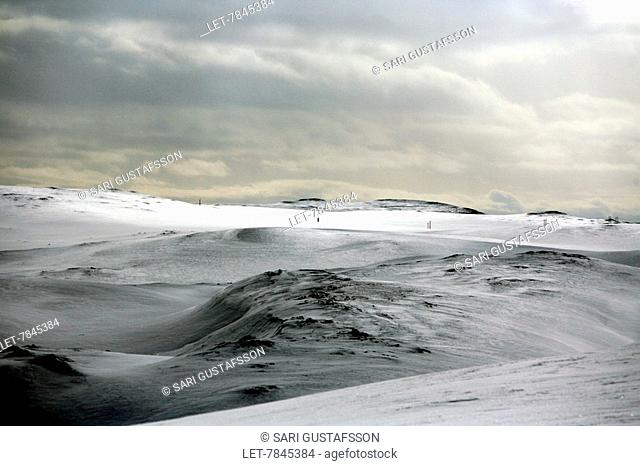 North Cape on the Arctic Ocean in Lapland, Norway. Cold, snowy scene . Nordkapp North Cape
