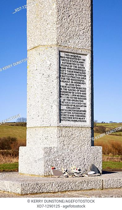 England Devon Slapton Sands American Monument to forces involved in Normandy Landings during 1944