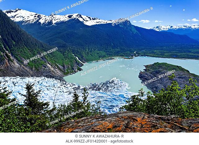 Scenic view overlooking Mendenhall Glacier and Mendenhall Lake from West Glacier Trail, Juneau, Southeast Alaska, Summer