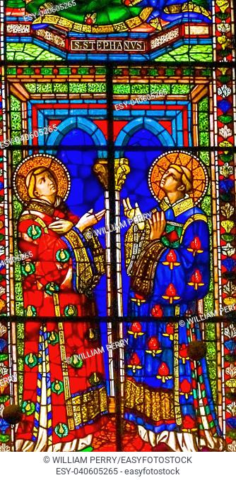 Saint Stephen Stained Glass Wiindow From 1400s Duomo Cathedral Church Florence Italy