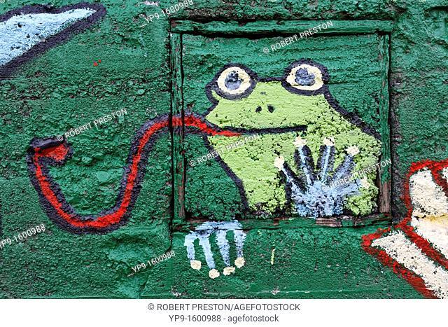 Graffiti of a frog, Isafjordur, West Fjords, Iceland