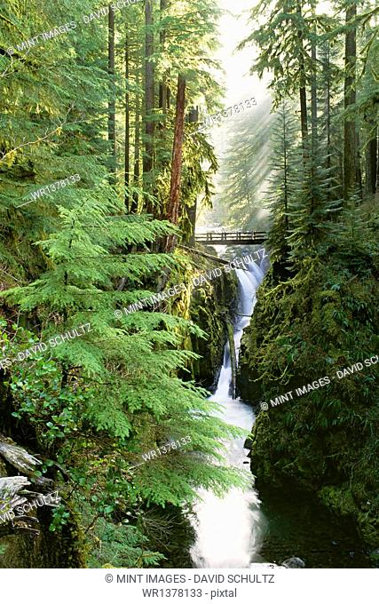 Sol Duc Falls are in the forest of Olympic National Park, Washington State