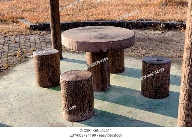 park bench and table