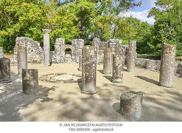 Ruins of the Baptistery in ancient Butrint, Albania, UNESCO