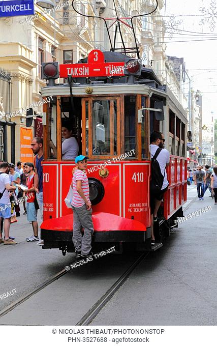 Turkey, Istanbul, Beyoglu district, Istiklal street, old tram