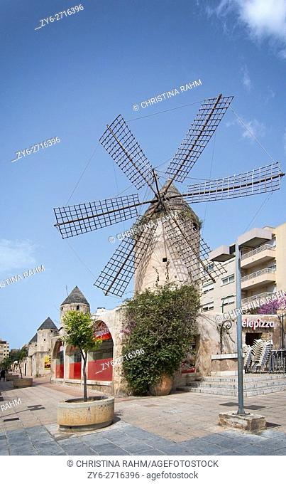 Windmill in the area Quattro Molinos in Palma de Mallorca, Balearic islands, Spain in April