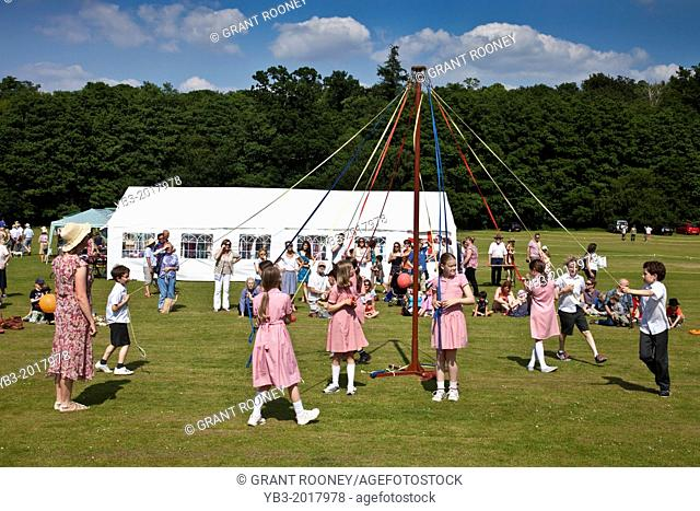Maypole Dancing, Withyham Village Fete, Fairwarp, Sussex, England