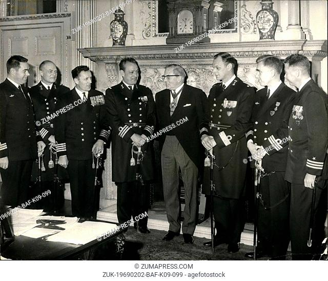 Feb. 02, 1969 - Lord mayo receives commodore and officers of NATO standing naval forces : The lord mayor of London, sir Charles tinder today received the...